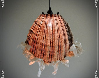 Shabby Chic Wire Basket Covered Burlap Hanging Light