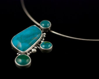 In Orbit -  Mexican and Chinese Turquoise pendant - On Sale