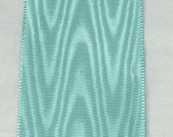 Vintage Rayon Aqua Moire Ribbon 5 Yard cuts