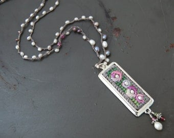 Nesting Pearls Hand Stitched Necklace - needlepoint pendant - bead crochet - pink and green - semi precious stones