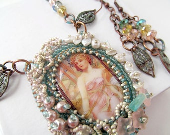 Bead Embroidered Cabochon Necklace Set Art Nouveau Lady Spring Maiden