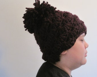 "made to order hat vintage style hat chunky crocheted hat pompom hat soft hat warm hat ""mod"""