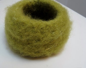 "chartreuse felted bowl, crocheted ""nest"", green crochet bowl, green felted bowl, green felt basket ""appletini"""