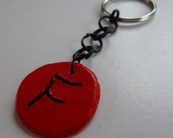 Red Intial F Keychain