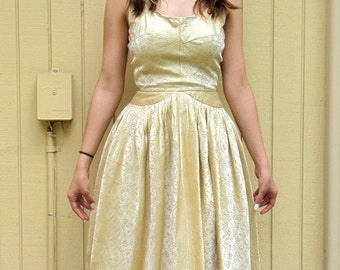 Vintage 50s/60s Gold party dress/ Mad Men style