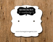 Square Personalized Earring Cards with Your Logo Jewelry Display Cards Fancy Die Cut Design Tags
