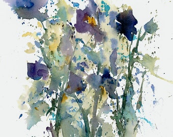 Iris print, of original watercolor. Impressionistic flowers