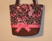 Pinks On Brown purse/tote bag handmade