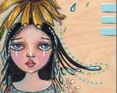 RESERVED -Fairy Girl whimsical painting on Wood panel 8 x 10 big eyed sad girl