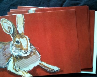 Brown Collage Hare on Red Notecard Set from Original Painting Collage