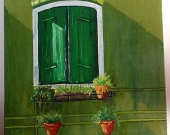 I Mean Green Oil Painting Landscape Window