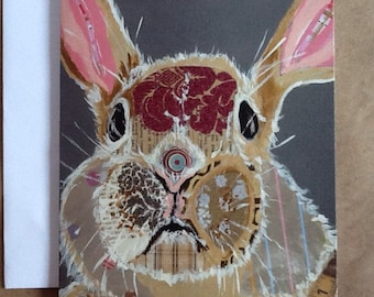 Brown Bunny Single Notecard from Original Painting Collage