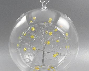 Crystal Christmas Ornament Citrine Yellow Swarovski Crystal Elements and Silver November Crystal Christmas Ornament