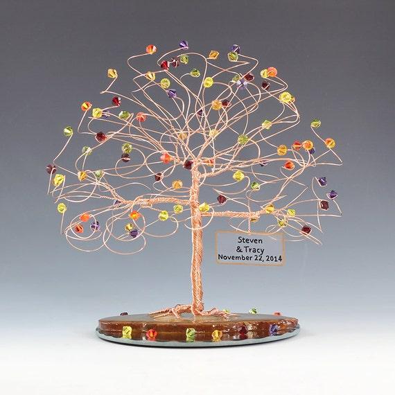"Personalized  Wedding Cake Topper Tree 7"" x 7"" in Custom Color Swarovski Crystal Elements Tree Cake Topper"