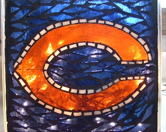 Chicago Bears Mosaic Lighted Glass Block, NFL Decor, Monsters of the Midway