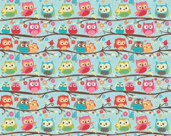 Happy Flappers by Riley Blake, Flappers Owls on Blue, yard