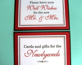 5x7 Flat Wedding Sign Package in Black and White and Red - Cards & Gifts for the Newlyweds and Wedding Guest Book READY TO SHIP