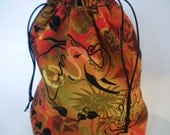 Sunset Elephants Drawstring Sock Knitting Project Bag
