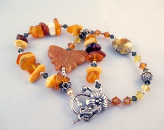 Baltic amber & sterling silver bracelet, multistrand with butterfly