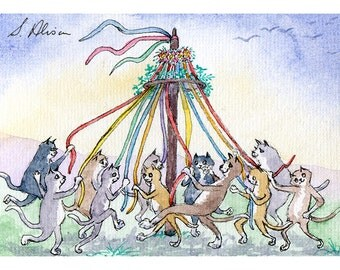Cat kitten dancers signed ACEO print - dancing around the maypole