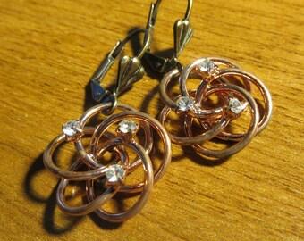 Vintage Gorgeous Copper Swarovski Flower earrings