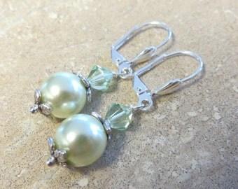 Light Green Earrings, Pearl Earrings, Swarovski Pearl Earrings,  Flower Earrings, Silver Earrings