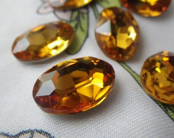 Golden Topaz 18x13mm Oval Crystal Glass Pointed Back Gems 6 Pcs