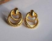 Etsy Vintage, Vintage Earrings, Vintage Hoops, Textured Hoop Earrings, Tripled Hoops, Gold Plated Hoops, Costume Jewelry, Etsy, Etsy Jewelry