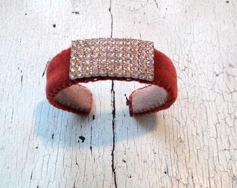 Rust Velvet and Rhinestone Cuff Bracelet