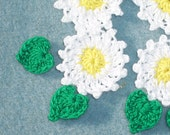 6 handmade crochet applique daisies with leaves  --  1828