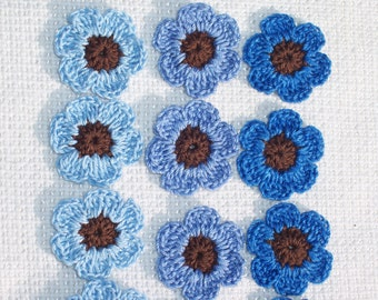 18 handmade brown and blue crochet applique flowers  289