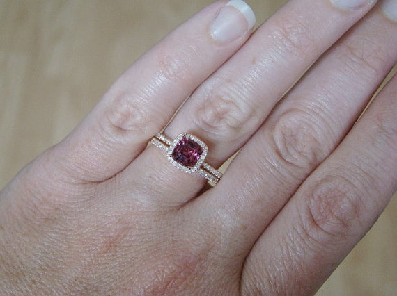 Halo Rhodolite Garnet Diamond Ring