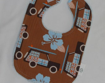 Brown Little Surfer Boy Boutique Bib