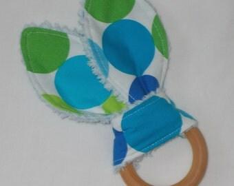 Caribe Disco Dots Rabbit Ears Wooden Teething Ring