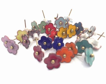 Small 8mm forget me not flower torch fired enamel stud post style earring custom made in your choice of colors.