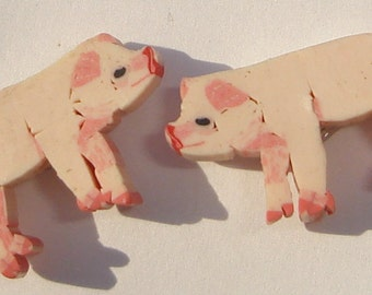 petite sweet little pink pig polymer clay pierced post hand made wire wrapped earrings