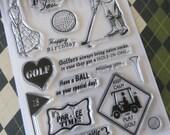 Vintage Golf Theme 6x4 Clear Stamp Set 15 pc