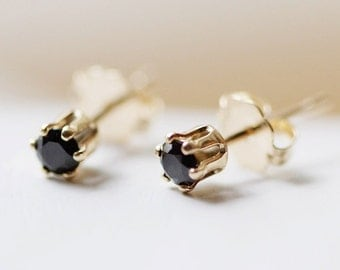 "tiny 14k goldfilled stud earrings - petite everyday jewelry - black, white, champagne gemstones - ""nova"" earrings by elephantine"
