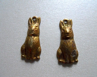 Pair Vintage Brass Rabbit Charms