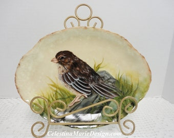 Sweet Sparrow Sitting on a Log, Hand Painted on a Vintage Platter with Easel, Home Display, Nature Decor, Gift, Collectible, ECS, CSSTeam