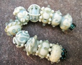 Reduced - Set of 10 Handmade Lampwork Beads Gray and Cream