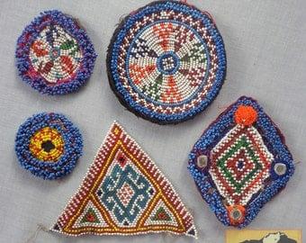Vintage Tribal Talisman:  Kuchi Beaded Remnant Amulet/Patch Set #23