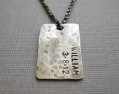 Mens Personalized Dog Tag Necklace, Mens Dogtag, Gift For Him, Gift For Boyfriend