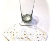Set Of Four White Granny Square Crocheted Coasters