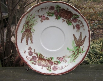 "Eight Vintage Transferware Saucers - ""Thanksgiving Bounty"" - Fall Harvest Tableware"