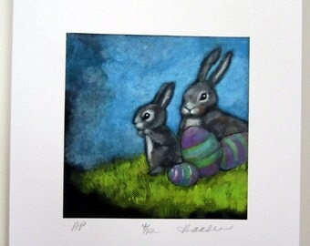 EASTER BUNNY'S EGGS A signed  Limited Edition original print from painting by Ellen Haasen