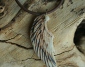 Rustic Angel Wing Porcelain Pendant 1