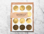 48 Metallic Gold Scallop Round Stickers, Wedding Stickers, Envelope Seals, Mini Stickers, Gold Stickers, Gift Wrapping, Scallop Stickers