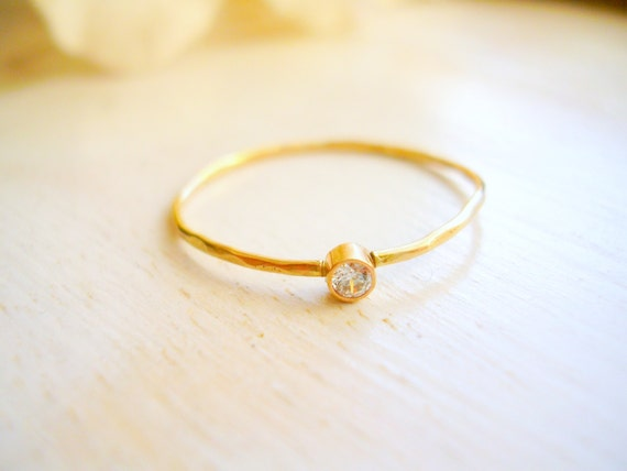 Dainty Diamond Solitaire Ring Engagement Ring by NatsukoJewelry