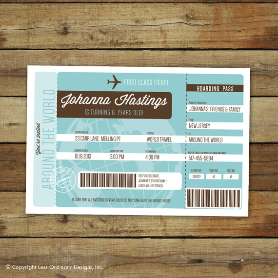 Airplane Ticket Boarding Pass Birthday Invitation: Items Similar To Airplane Ticket Birthday Party Invitation